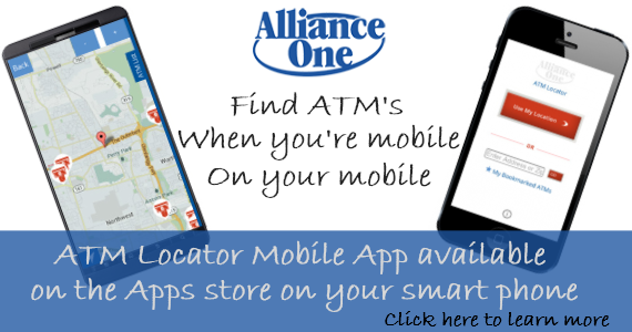 Image of a cell phone on the left displaying a map, and an image of a cell phone on the right displaying the Alliance One login screen, with the 