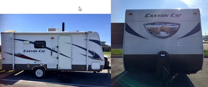 Side view and front view of white 2014 Puma Palomino camper.  The camper is white with